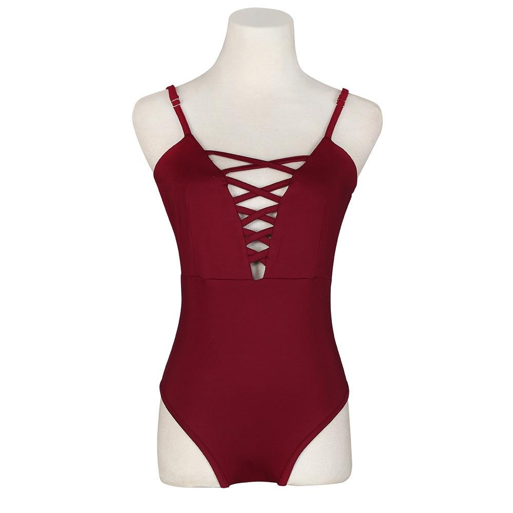 f3df29e9e3 Fashion Xingbiaocao Women s Swimwear One Piece Swimsuit Push Up Bikini Bathing  Suit M - Red