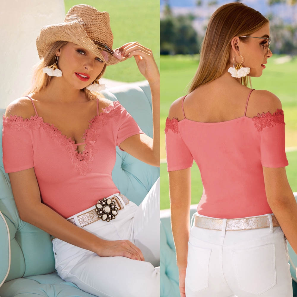 5e30c0e2462982 Fashion Hiaojbk Store Womens Casual Lace Cold Shoulder Tops Short ...