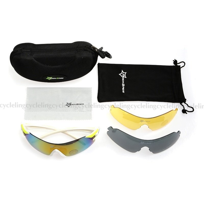 31cedbd9e1 Fashion RockBros Polarized Cycling Glasses Three Interchangeable ...