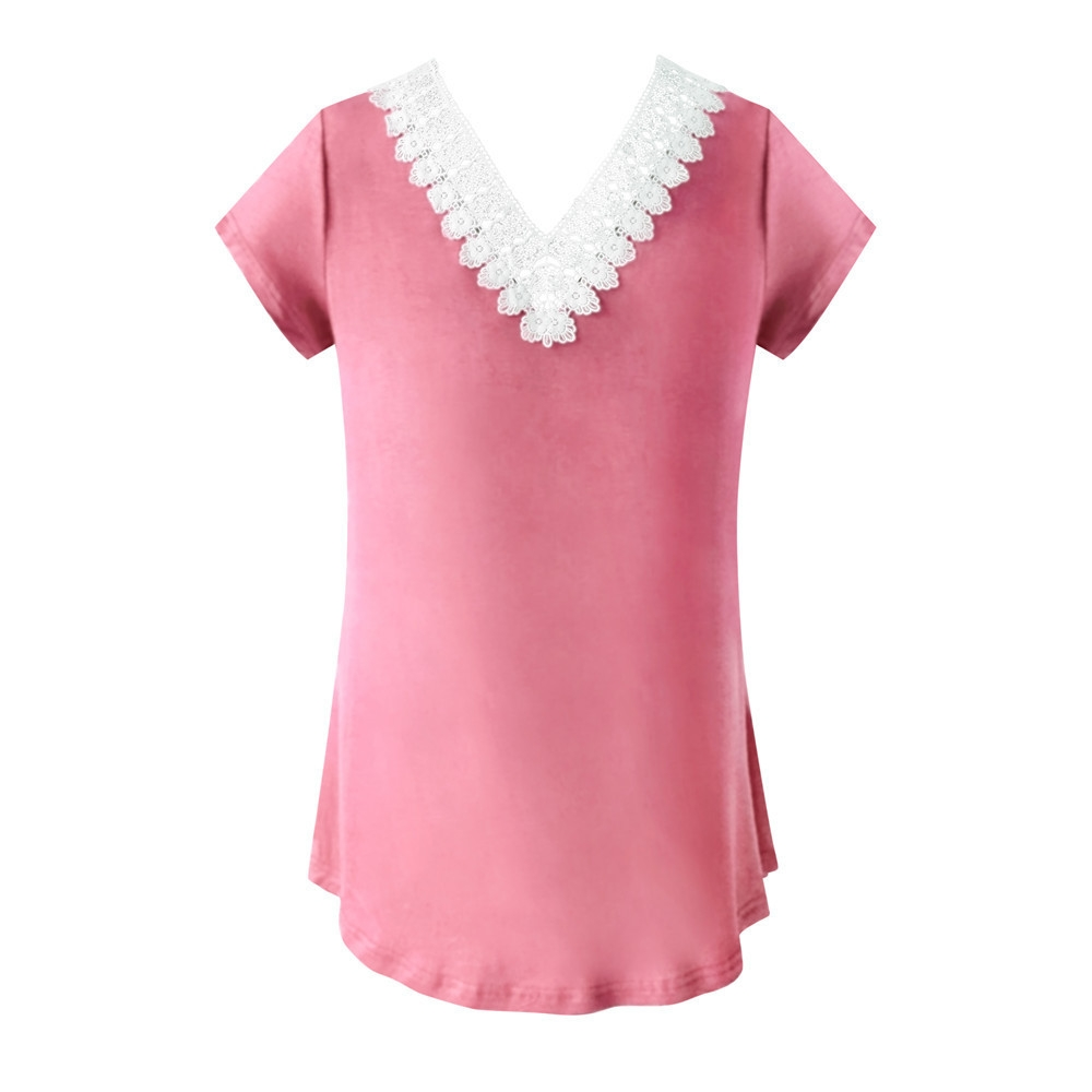 ba268c3d5f17e7 Fashion Hiaojbk Store Women Loose V Neck Patchwork Lace Short Sleeve T-Shirt  Tops Blouse-Purple