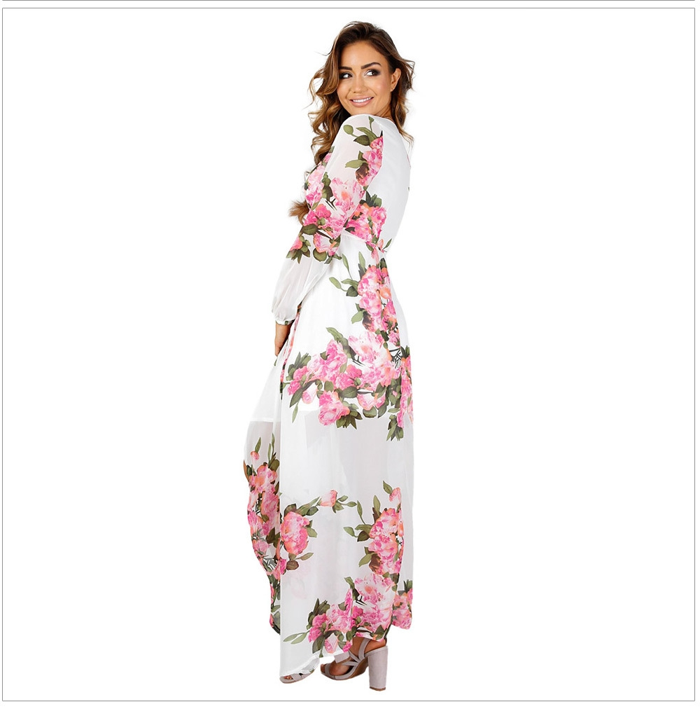 Sexy Plunging Neck Floral Print Asymmetric Hem Chiffon Wrap Dress for Women