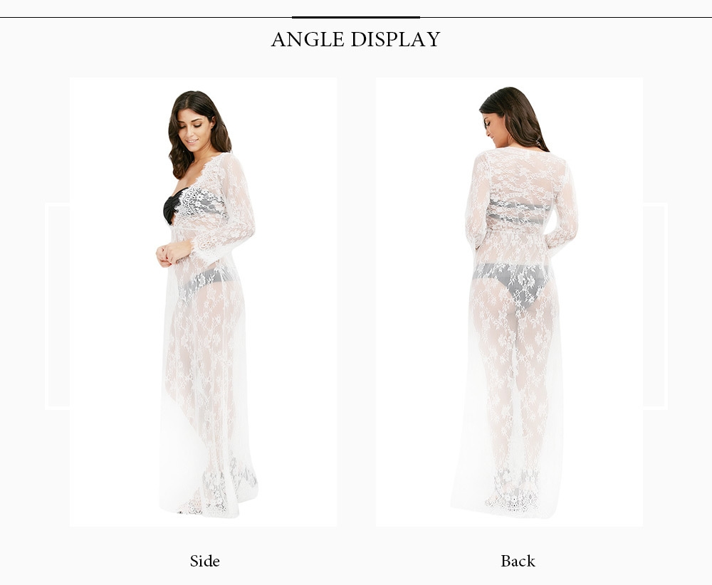Sexy Plunge Neck Long Sleeve See-through Lace Women Maxi Dress