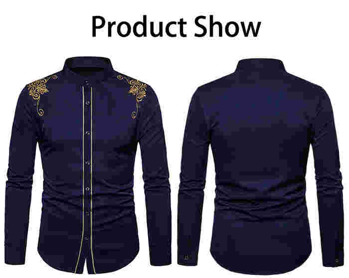 Turndown Collar Embroidered Design Shirt