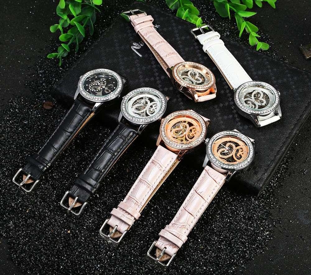 Winner F1205254 Women Automatic Hand-wind Movement Mechanical Watch Rubber Strap