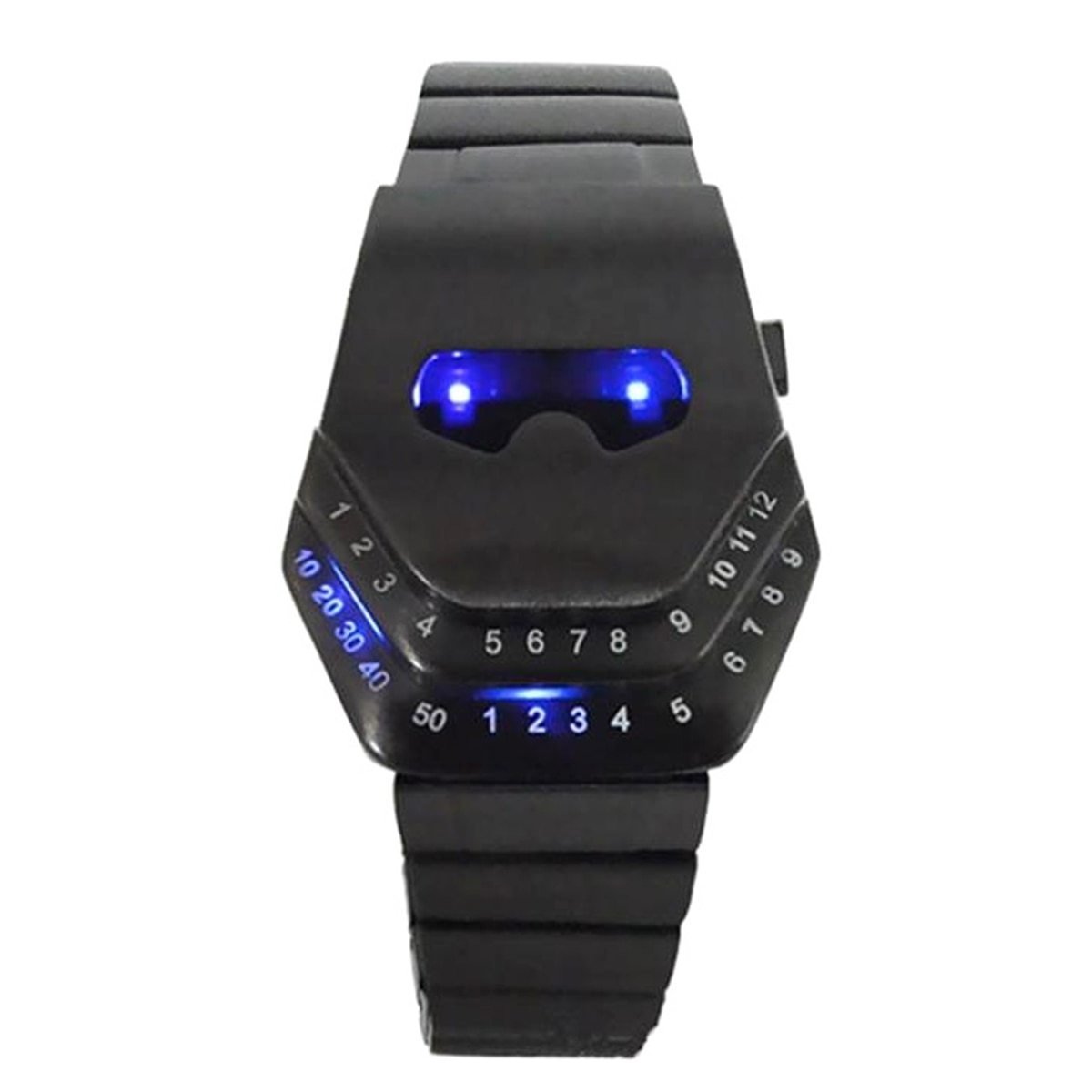Fashion Mens Stainless Steel Snake Head Blue LED Wrist Watch Gift Cool