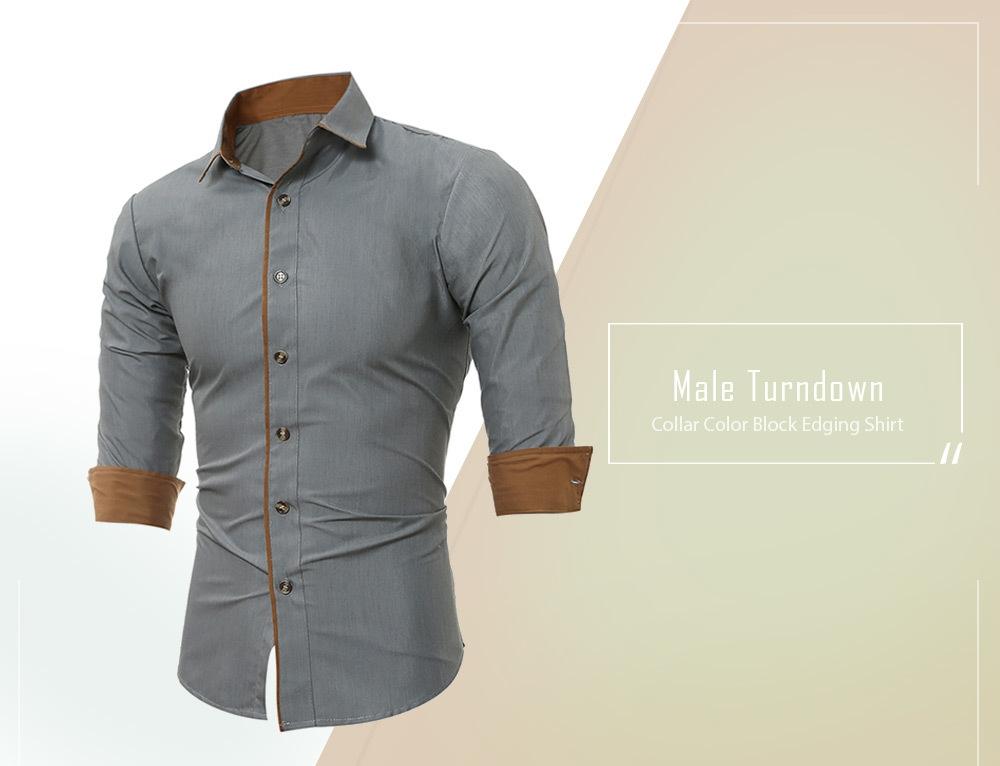 Turndown Collar Color Block Edging Shirt