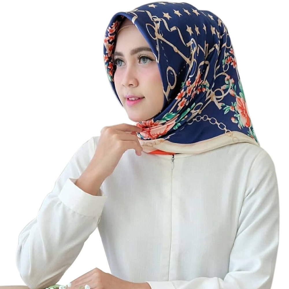 558bdaaad2e31 Bandana Scarf Satin Printing Large Square Ladies Big Shawl Elegant Silk  Gift Floral Shiny Lady Women Muslim Hijab Navy Blue