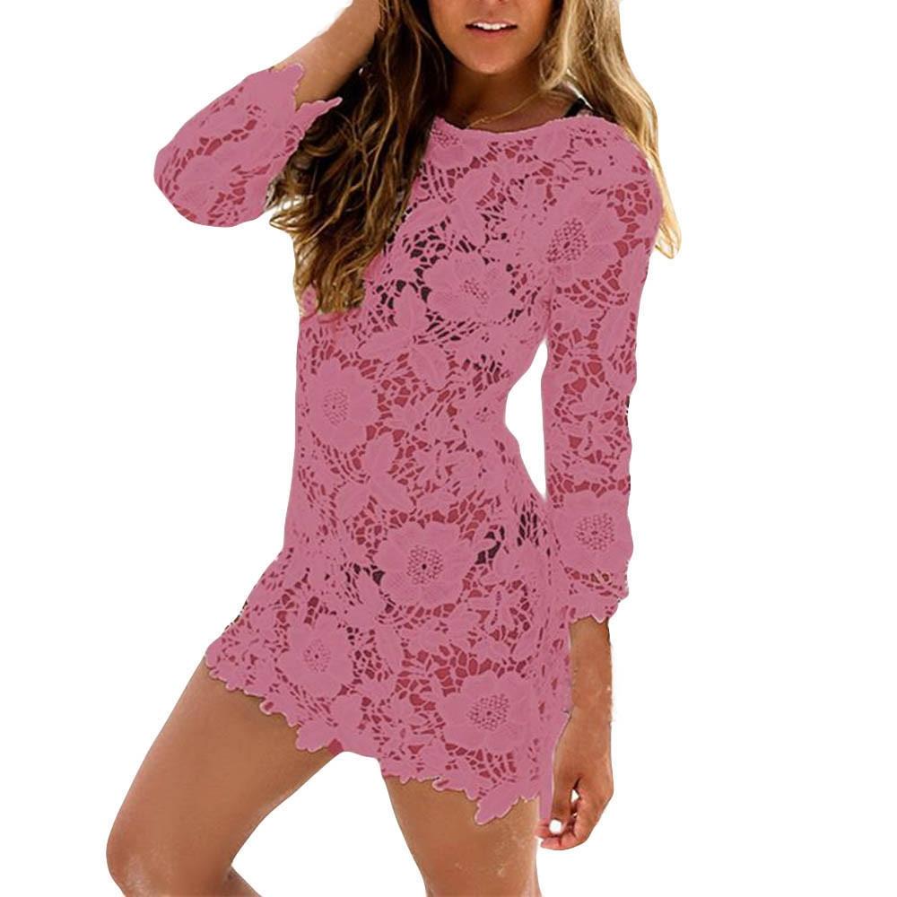 c3c7eb4a5c24 Fashion Hiaojbk Store Sexy Women Lace Crochet Bathing Suit Bikini Swimwear  Cover Up Beach Dress-Orange