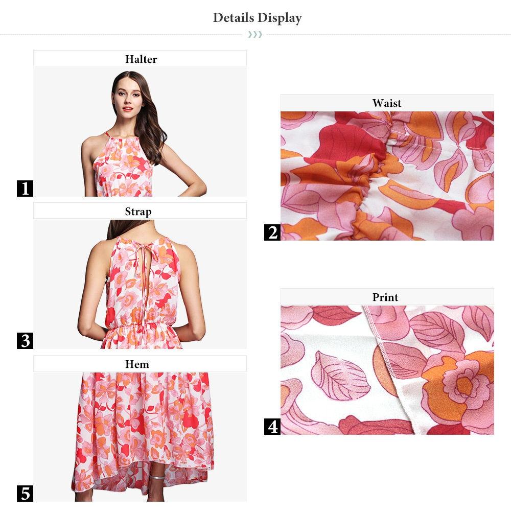 Elegant Halter Neck Floral Print Chiffon Maxi Dress for Women
