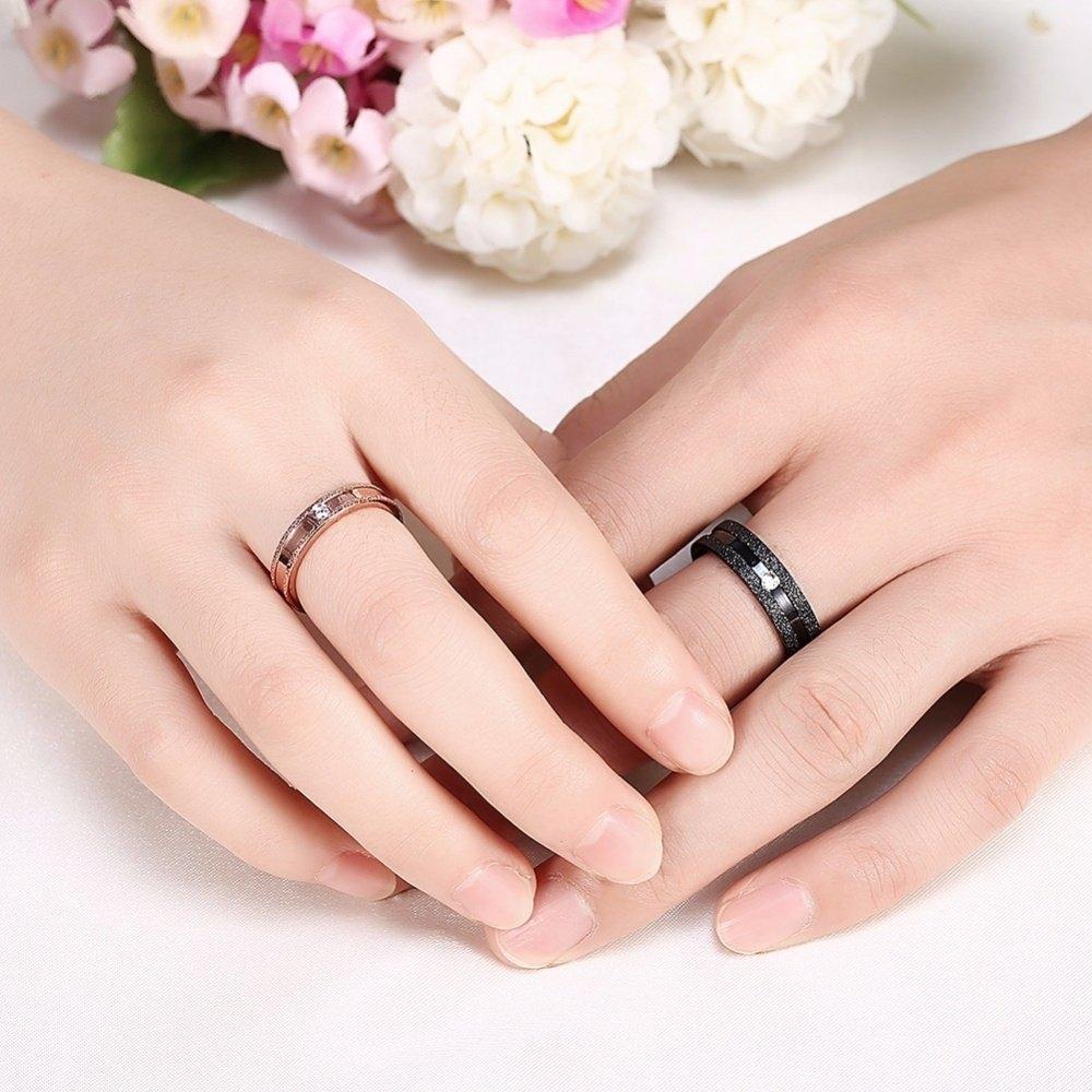 Buy Fashion Gold Black Stripe Stainless Steel Couple Ring Women ...