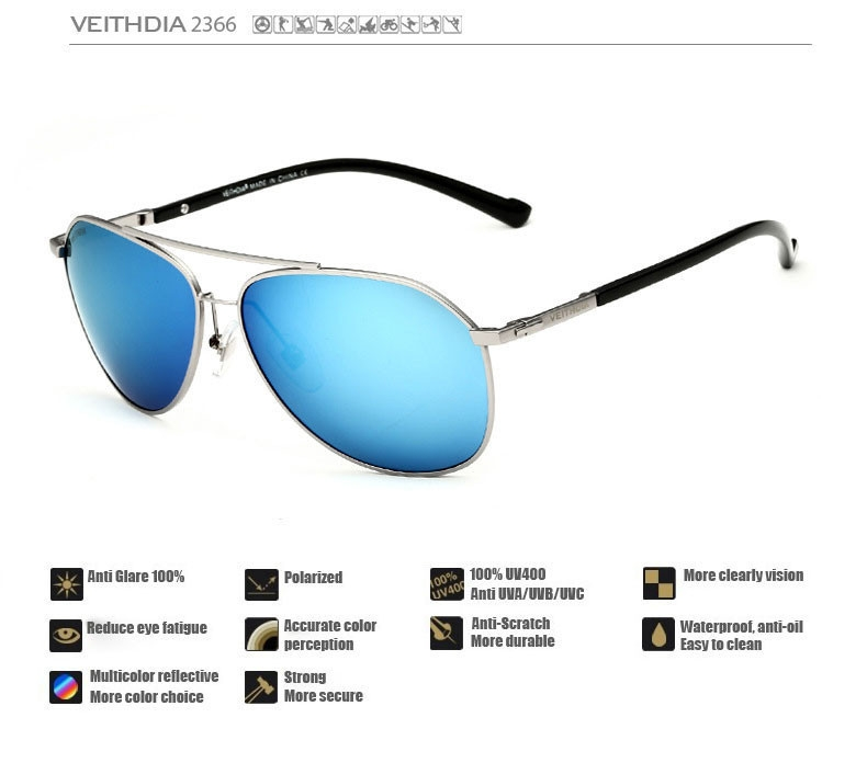 bc7f580142 Generic VEITHDIA Fashion Sunglasses Polarized Men 6 Color Coating ...