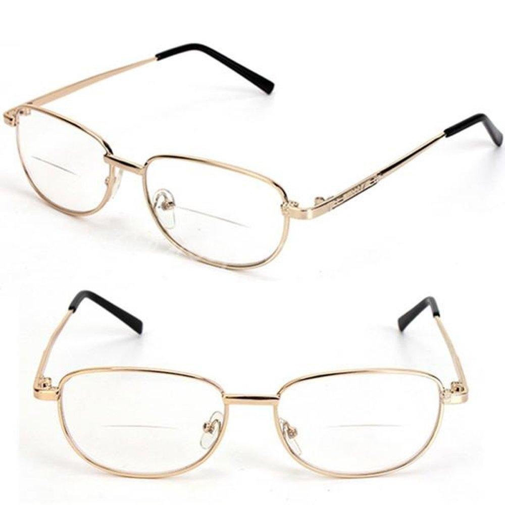 2a0246a7149 Fashion Fashion Bifocal Lens Rimmed Men s Reading Glasses Gold Metal ...