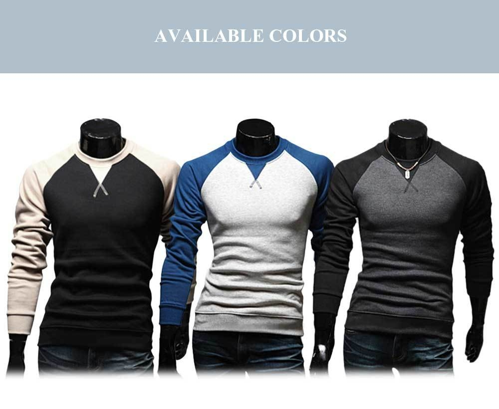 Casual Patchwork Round Neck Long Sleeve Shirt for Men
