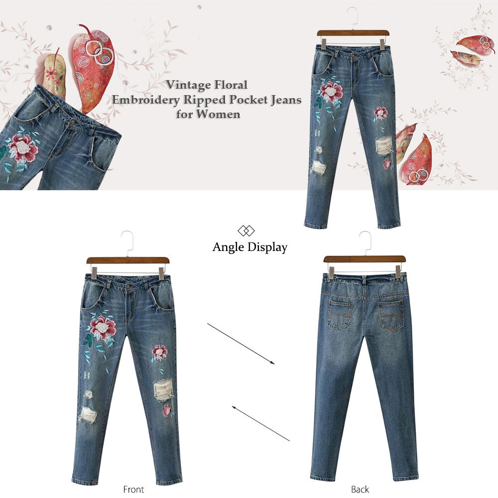 Vintage Floral Embroidery Ripped Pocket Women Jeans