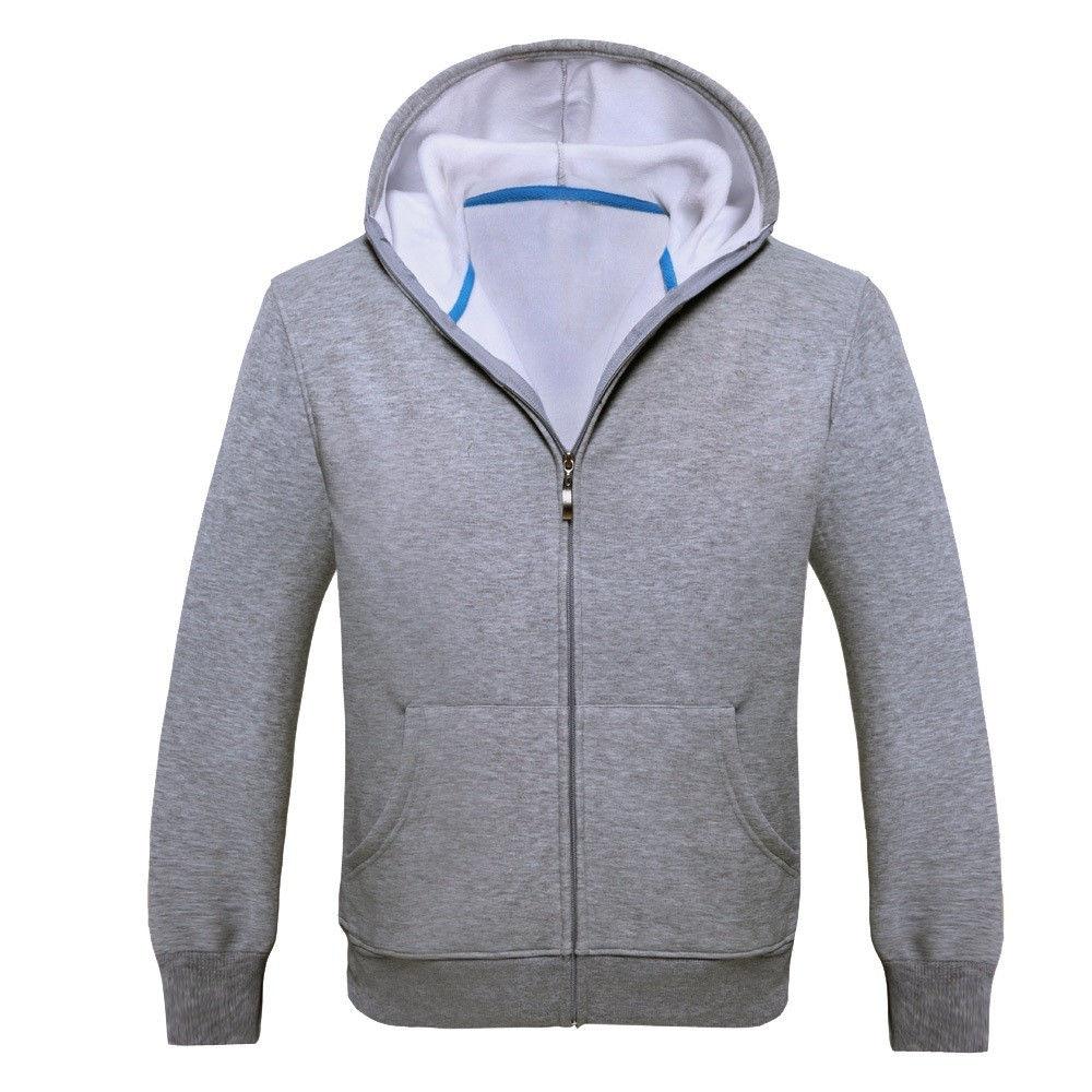 fdd11039e90f Fashion Hiaojbk Store Men Sport Zip Fleece Warm Hooded Long Sleeve Pocket Casual  Jacket Coat GY L-Gray