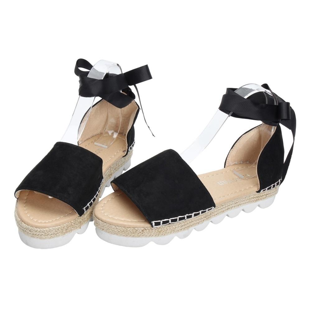 cddf602fb26 Fashion Fashion Womens Sandals Anke Strap Block Summer Espadrille ...