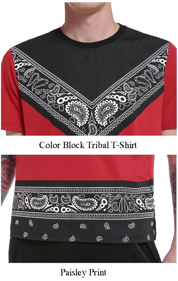 Crew Neck Color Block Tribal Paisley Print T-Shirt