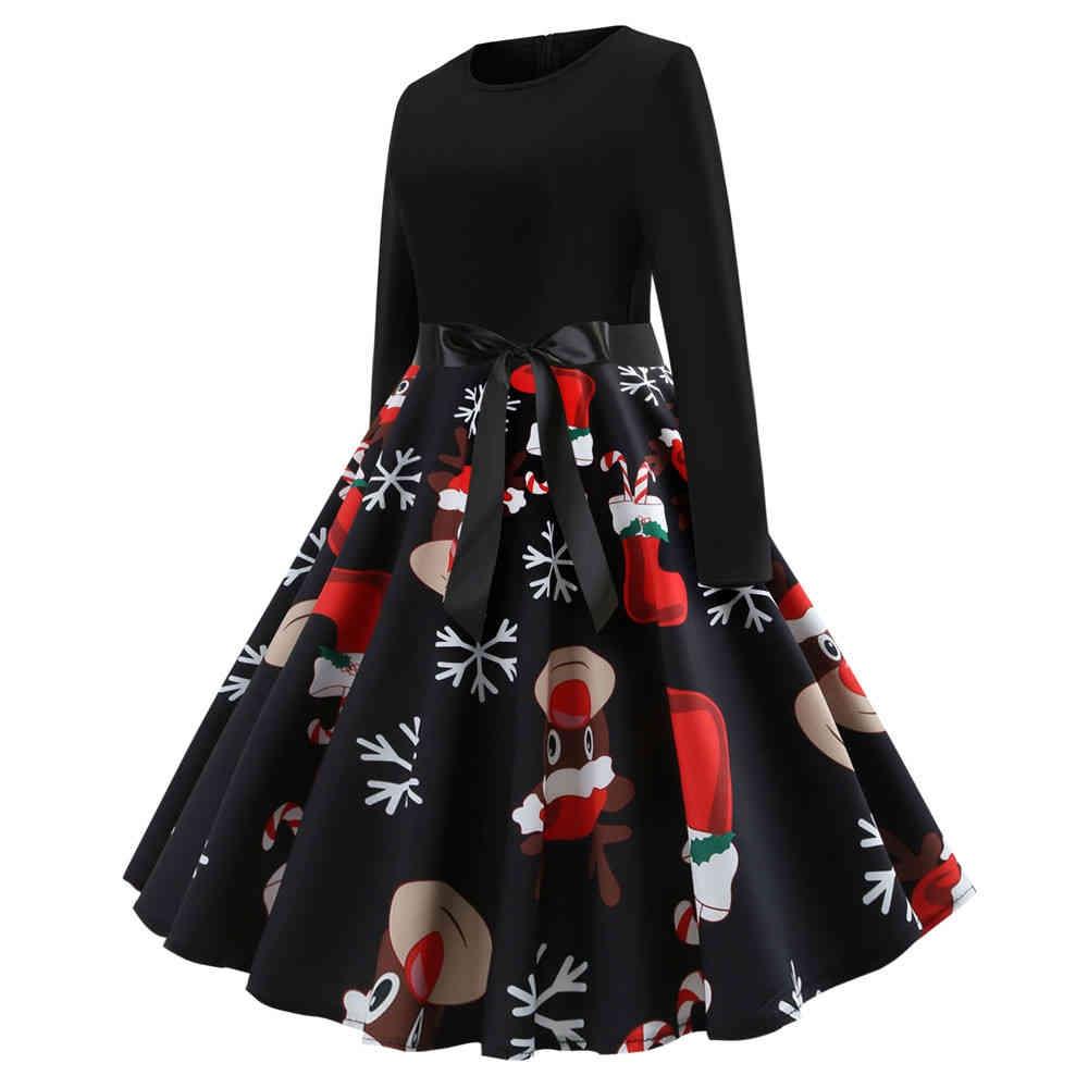 726d9499d5c55 Fashion Women's Vintage Long Sleeve Christmas Party Swing Dress ...