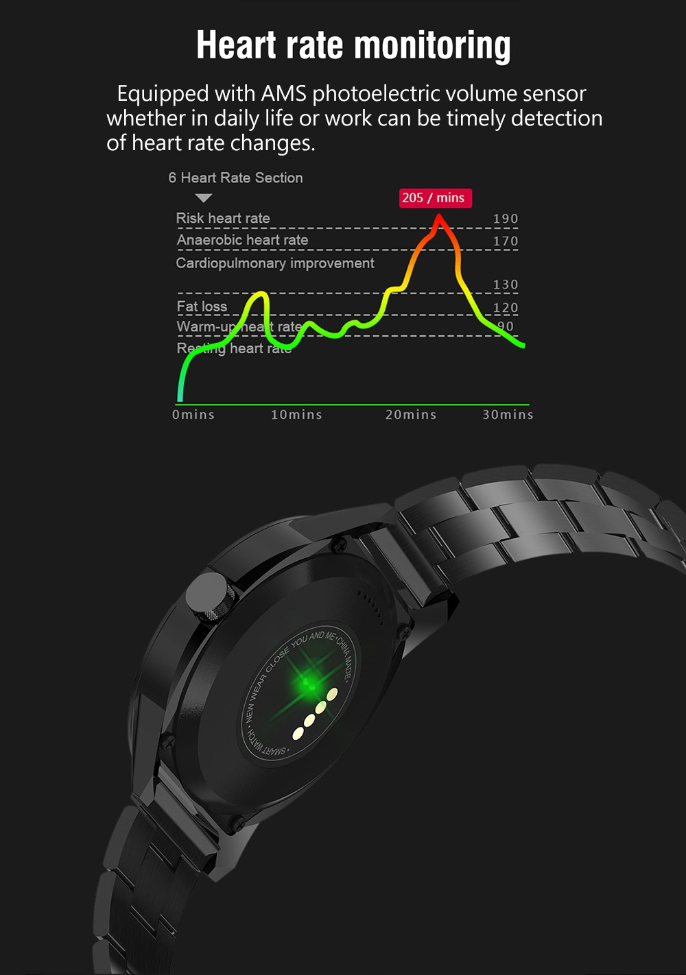 NEWWEAR N6 Brightness Adjusting Smart Watch Sedentary Remind Information Push Wristband