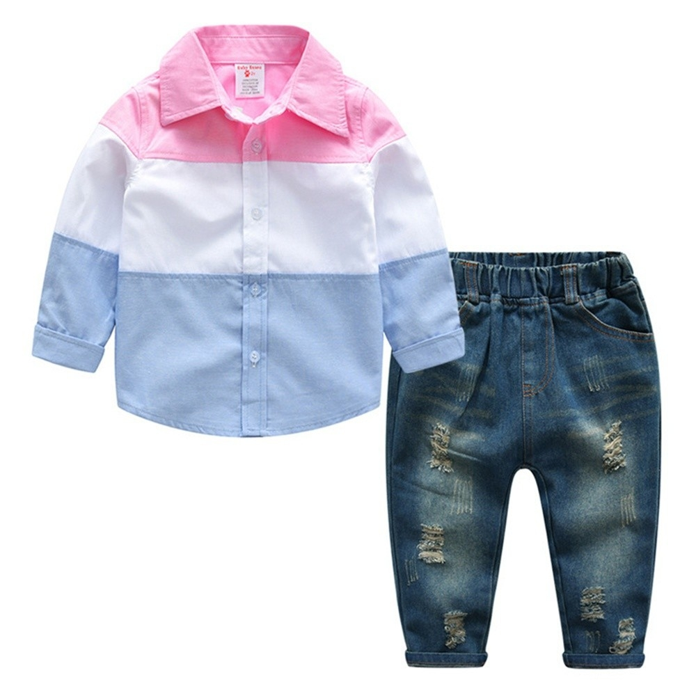 39dda662d5dd Fashion Baby Boys Clothes Sets Toddler Boy Gentleman Outfits Suits Shirts +  Suspenders Pants - Pink