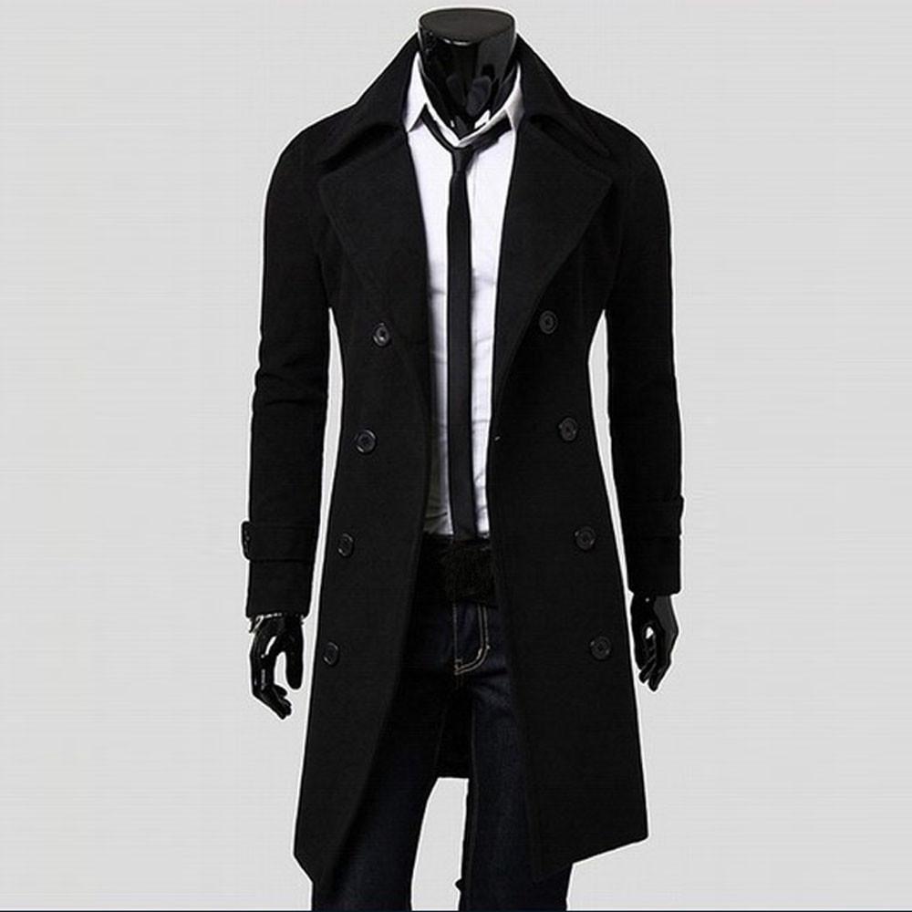 059057828b Fashion jiuhap store Winter Men Slim Stylish Trench Coat Double Breasted  Long Jacket Parka BK L-Black