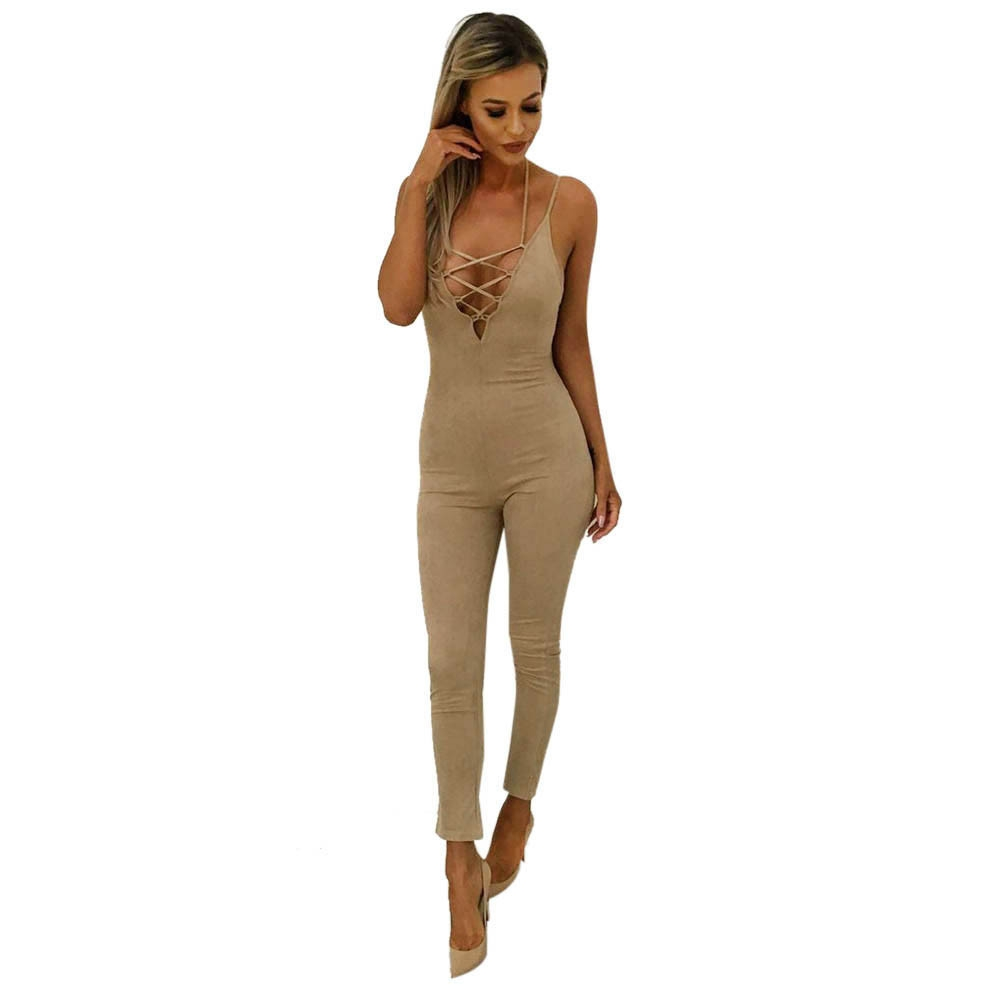 a7f65d59dec Fashion jiuhap store Women Clubwear Bandage Playsuit Bodycon Party Jumpsuit  Bodysuit Trousers BK L-Black