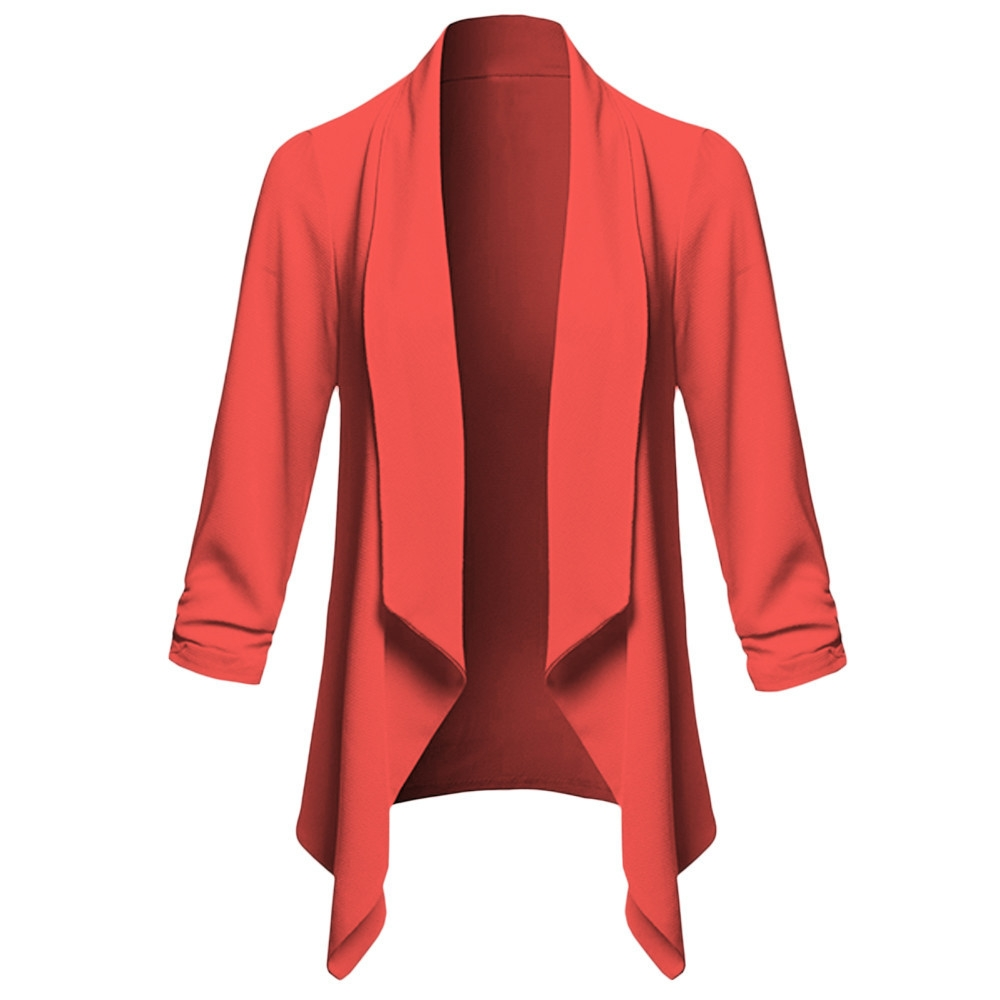8d381c49903 Fashion jiuhap store Womens Solid Open Front Cardigan Long Sleeve Blazer  Casual Jacket Coat-Red