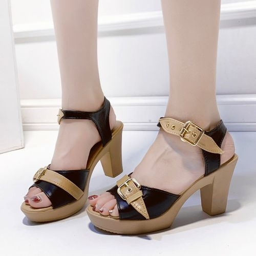 product_image_name-Fashion-States High-heeled Fish Thick With AnkleBuckle Sandals-black-2