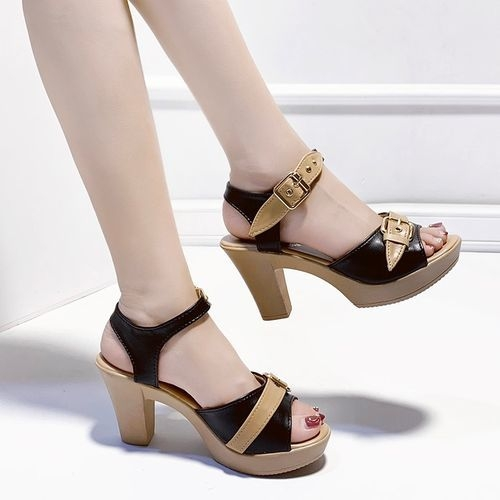 product_image_name-Fashion-States High-heeled Fish Thick With AnkleBuckle Sandals-black-1