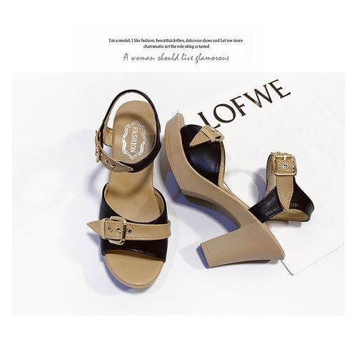 product_image_name-Fashion-States High-heeled Fish Thick With AnkleBuckle Sandals-black-3
