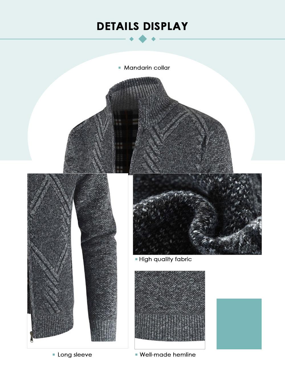Geometric Pattern Stand Collar Cardigan