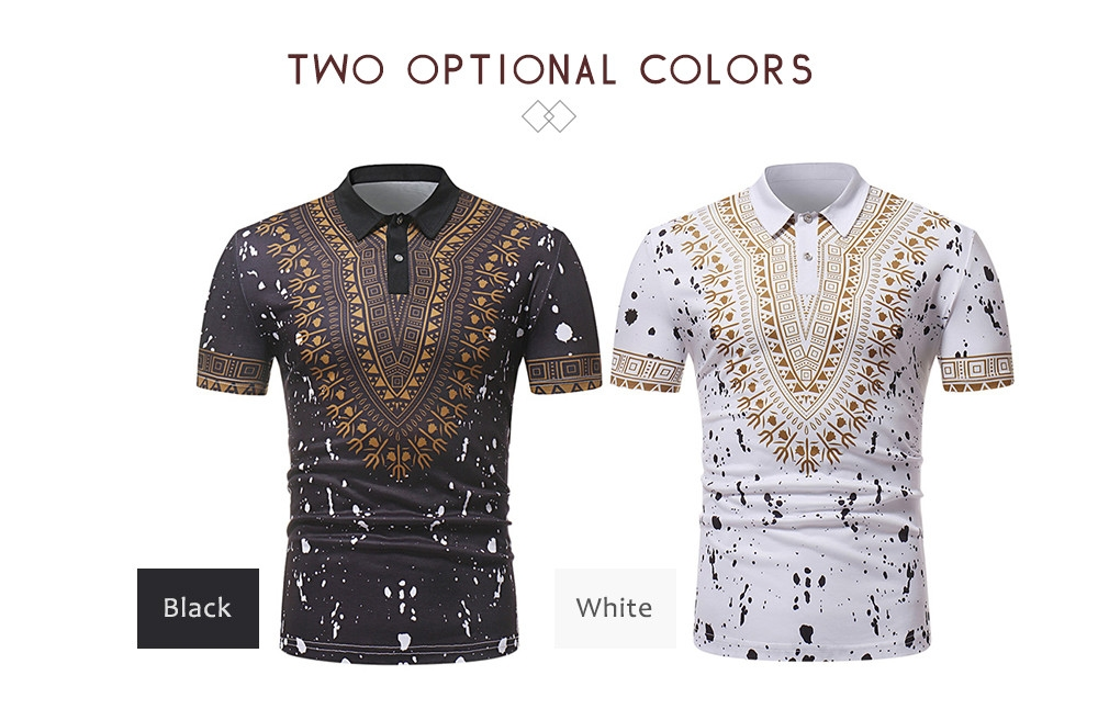 ZT - PL02 Men African Print Pullover Short Sleeve Summer Casual Shirt with Turn-down Collar