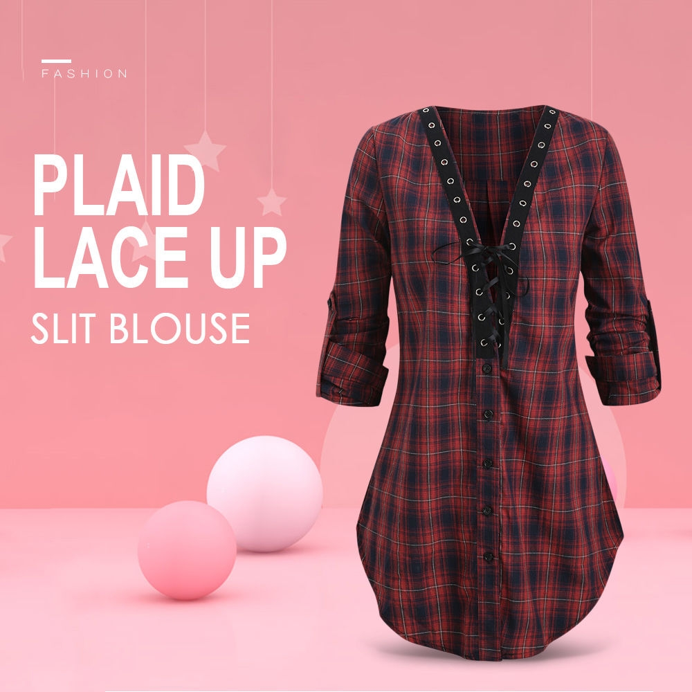 Plaid Lace Up Slit Blouse