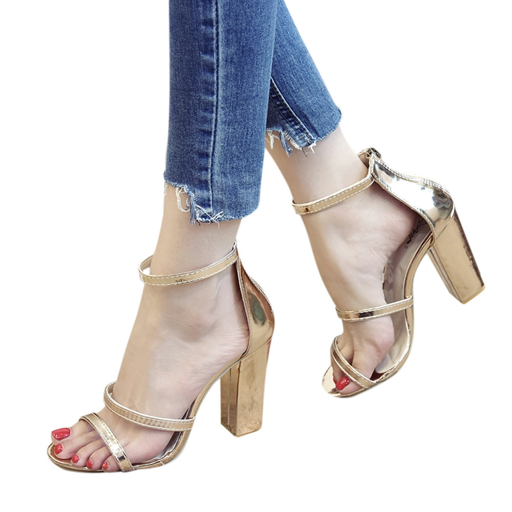 3a381f71ab98 Fashion blicool shop women sandals fashion women zip ladies ankle high heels  casual open toe party