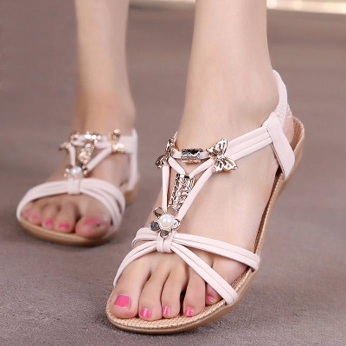 cbffa2c50 Fashion bluerdream-Women Slipper Summer Beaded Bohemian Sandals Beach Shoes  Flat Shoes-Beige (EU Sizing)