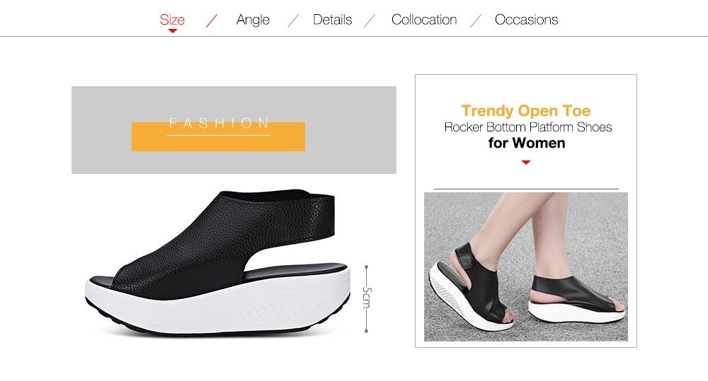 Trendy Open Toe Rocker Bottom Hook And Loop Sandals Women Platform Shoes
