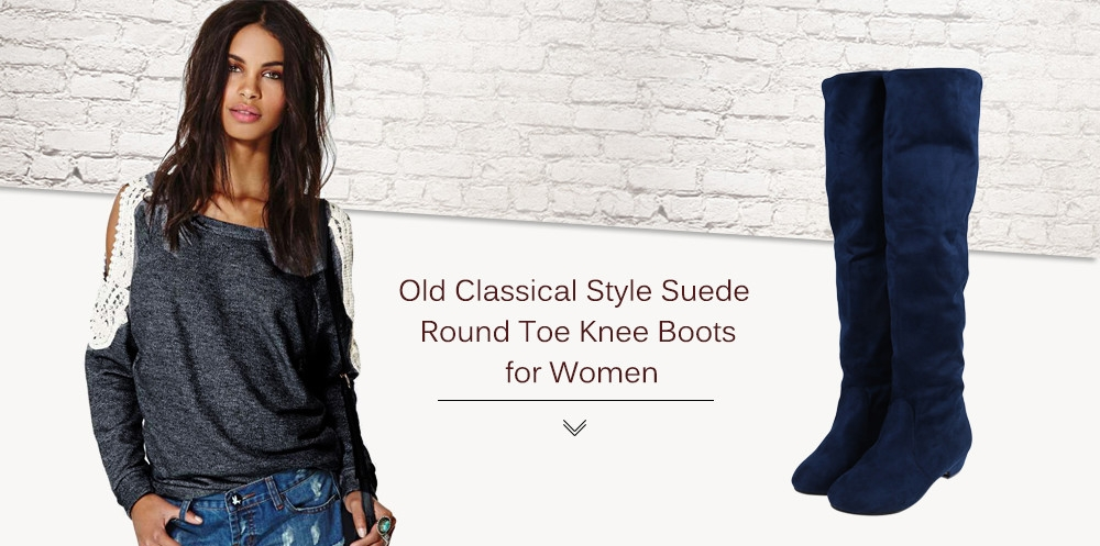Old Classical Style Solid Color Round Toe Knee Boots for Women