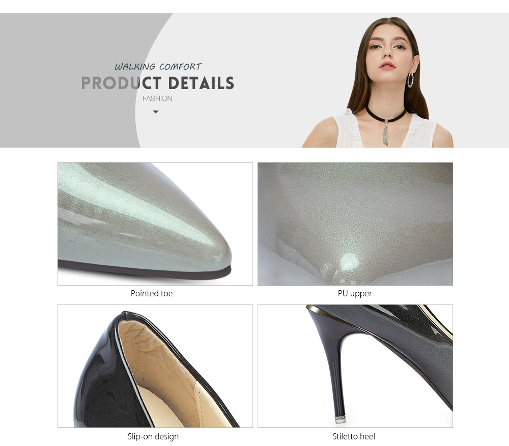 Trendy Pointed Toe Stiletto Heel Slip-on Gradient Color PU Women Shoes