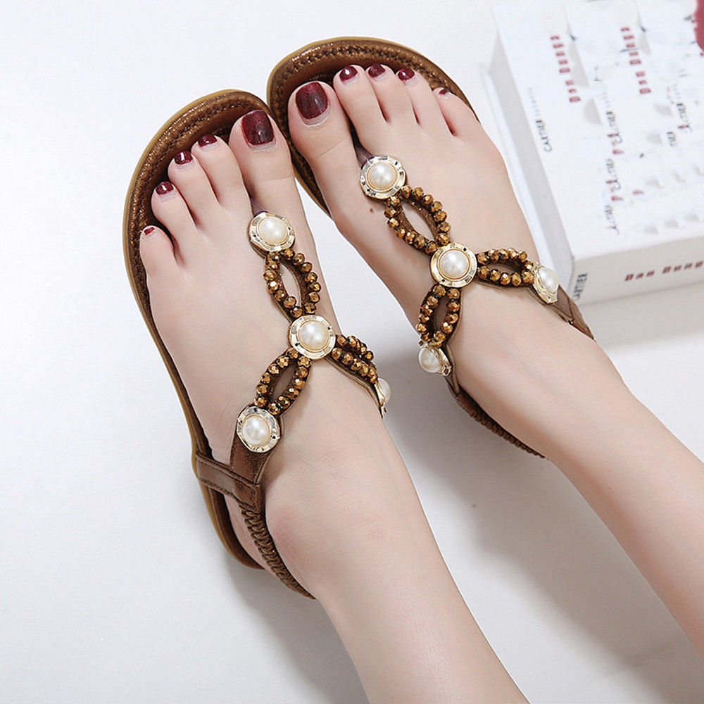 Buy Fashion Blicool Shoes Women Bohe Rhinestone Flat Large Casual Stylish Image