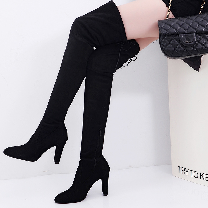 1d31282481b Fashion Women Long Stretch Over the Knee Boots Thigh High Heeled ...