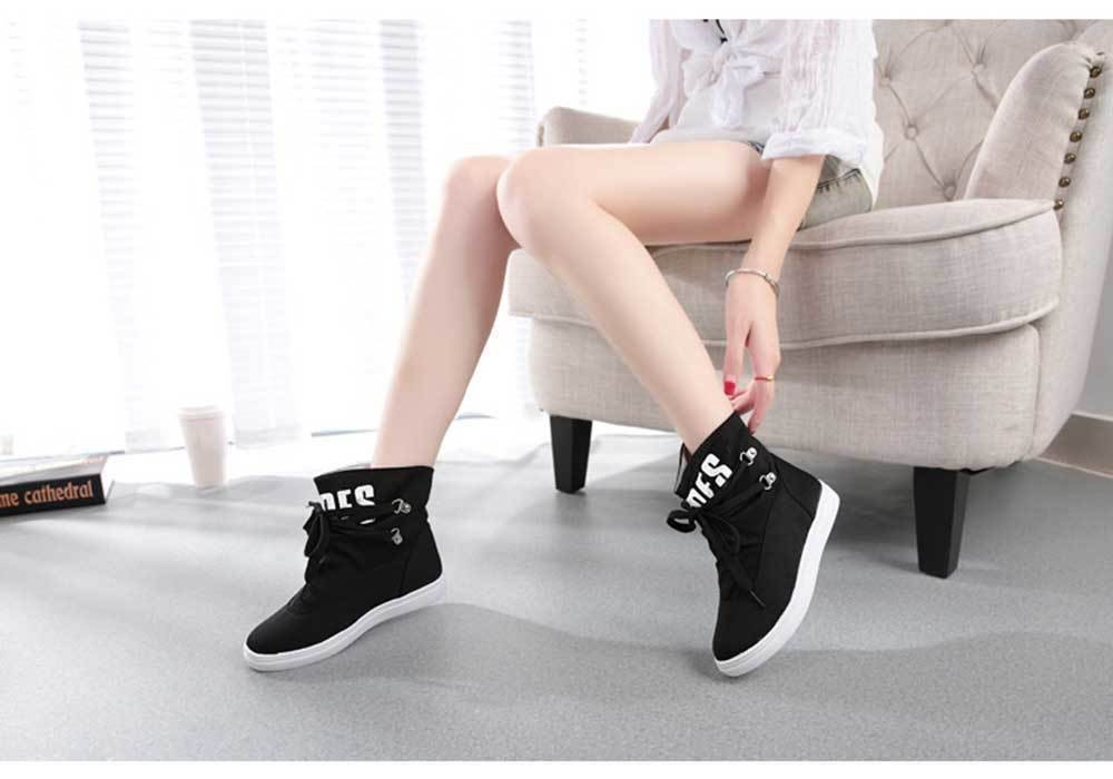Casual Pure Color Letter Print Lace Up Dunk High Canvas Shoes for Women