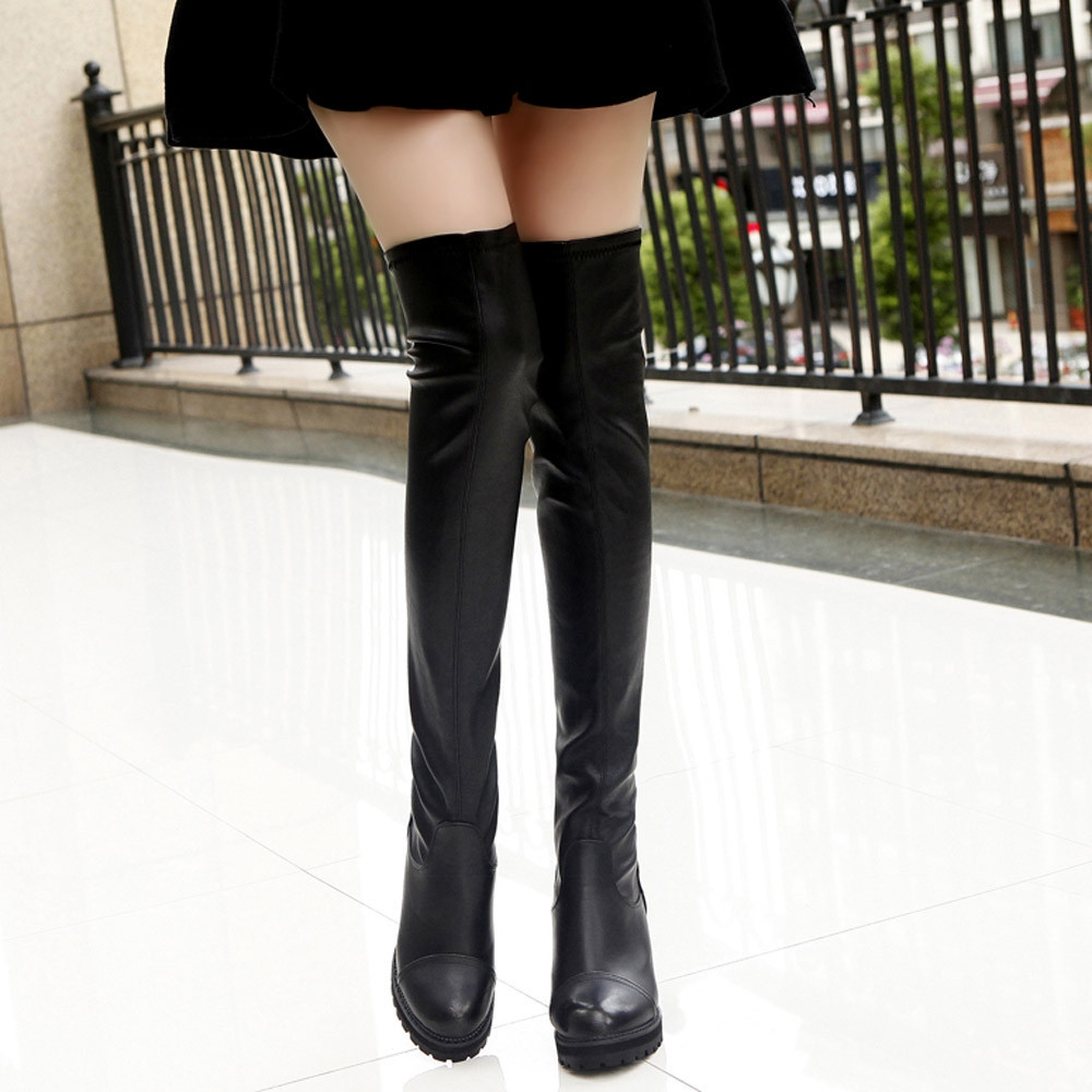c0814067c2e Fashion Bliccol High Heel Shoes Fashion Leather Over Knee Boots ...
