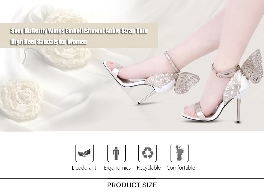 d7771d7cf4f6 GUMANDUO Sexy Butterfly Wings Embellishment Ankle Strap Thin High Heel  Sandals for Women ...