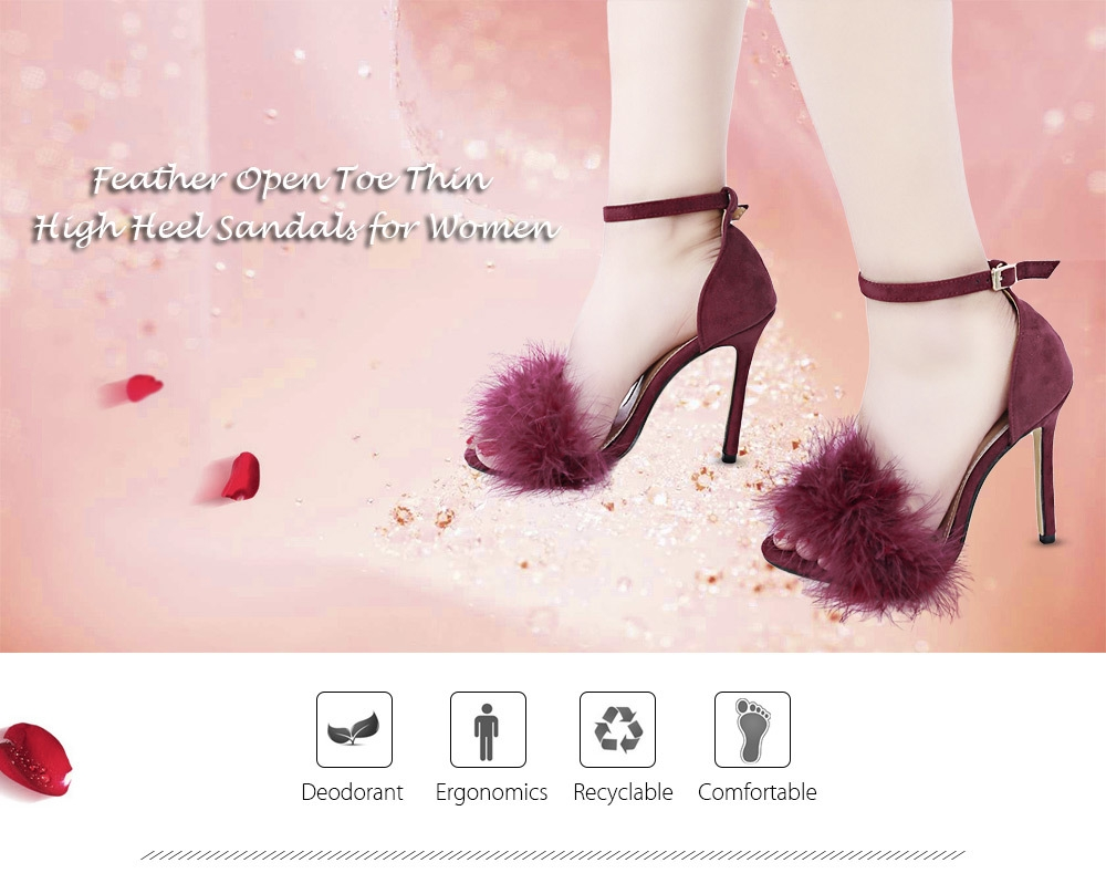 BaiBeiQi Sexy Feather Open Toe Ankle Strap Thin High Heel Sandals for Women