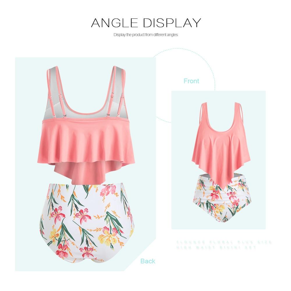 Flounce Floral Plus Size High Waisted Bikini Set