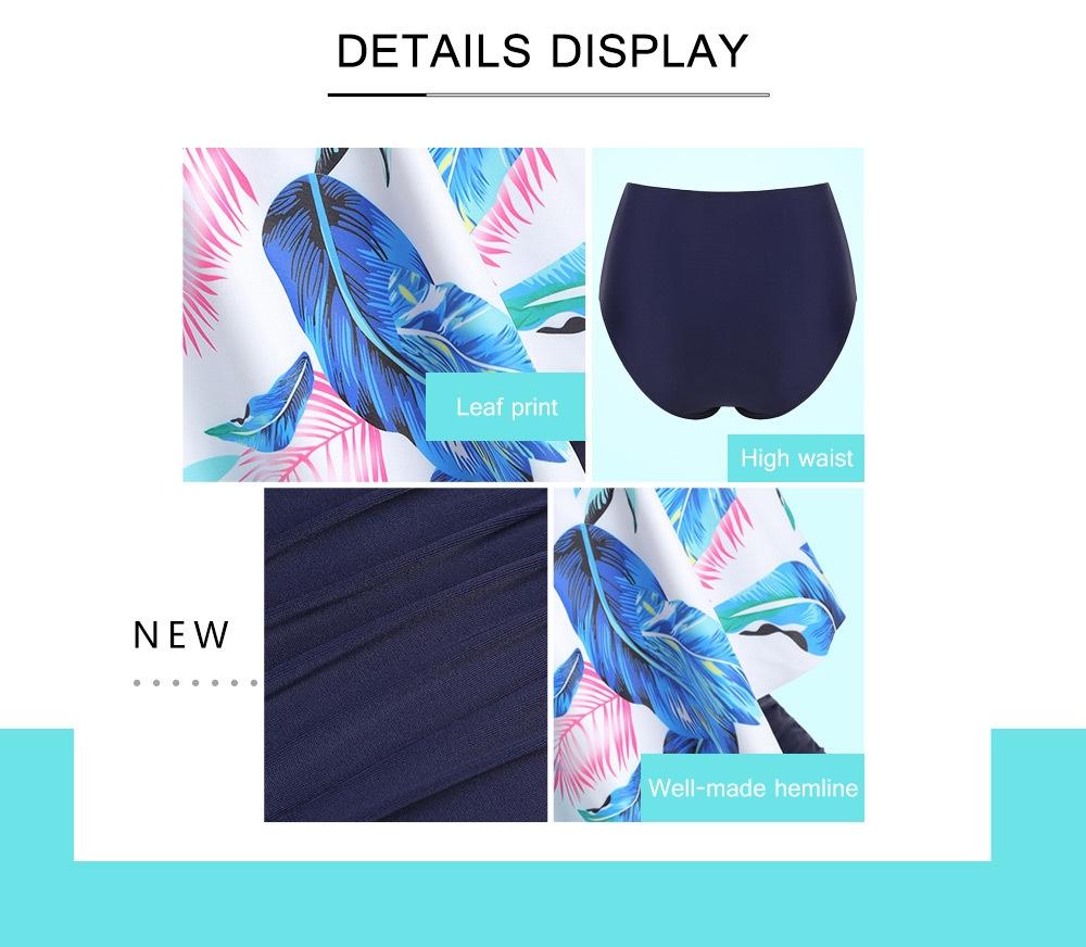 Leaf Print Flounce Plus Size High Waisted Bikini Set