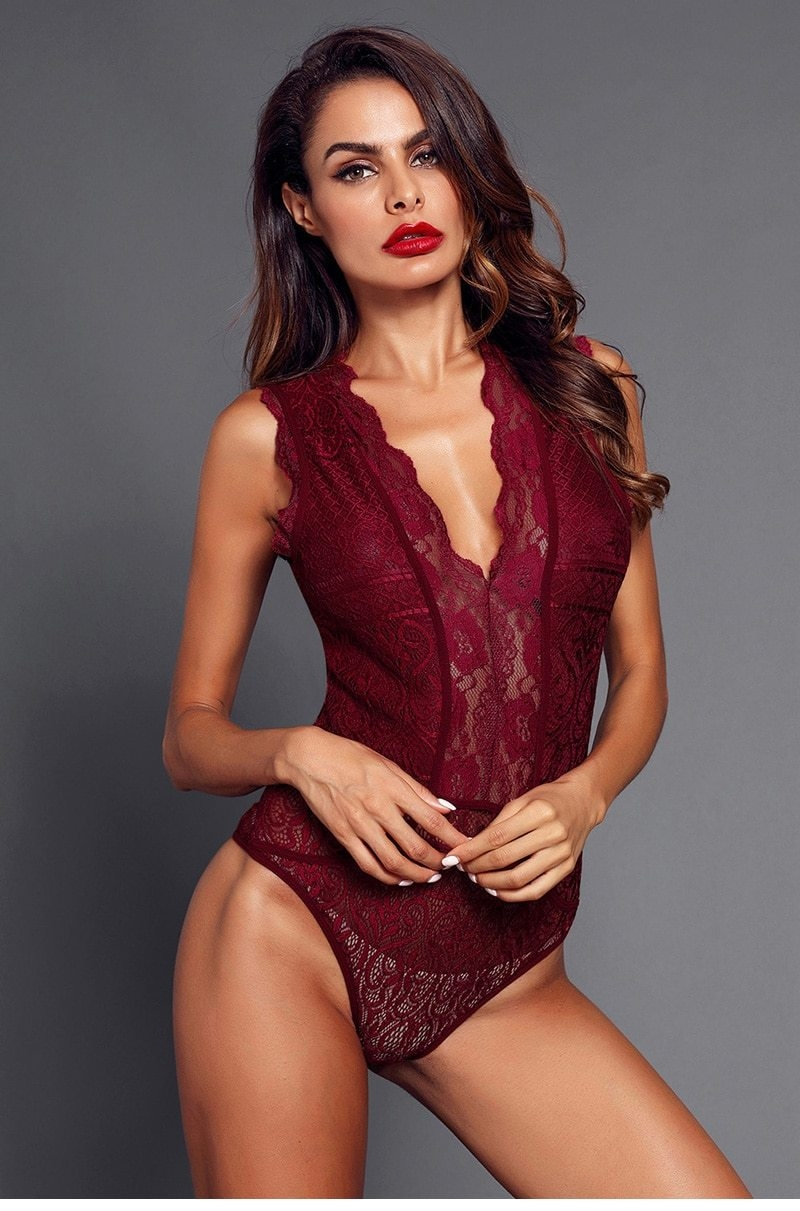 Red-V-Neck-Hollow-out-Lace-Bodysuit-LC32247-3-7