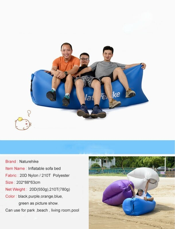 Outdoor 20D Nylon Waterproof Fast Inflatable Sleeping Bag Soft Beach Sofa  Lounger Bed Lazybones Air Bags 550g(Green)