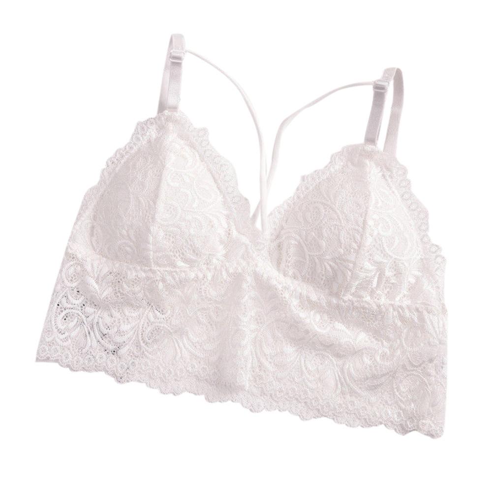 286d5808185 Fashion Wenrenmok Store Women Strappy Lingerie Floral Sheer Lace Bralette  Padded Bra Crop Underwear WH-White