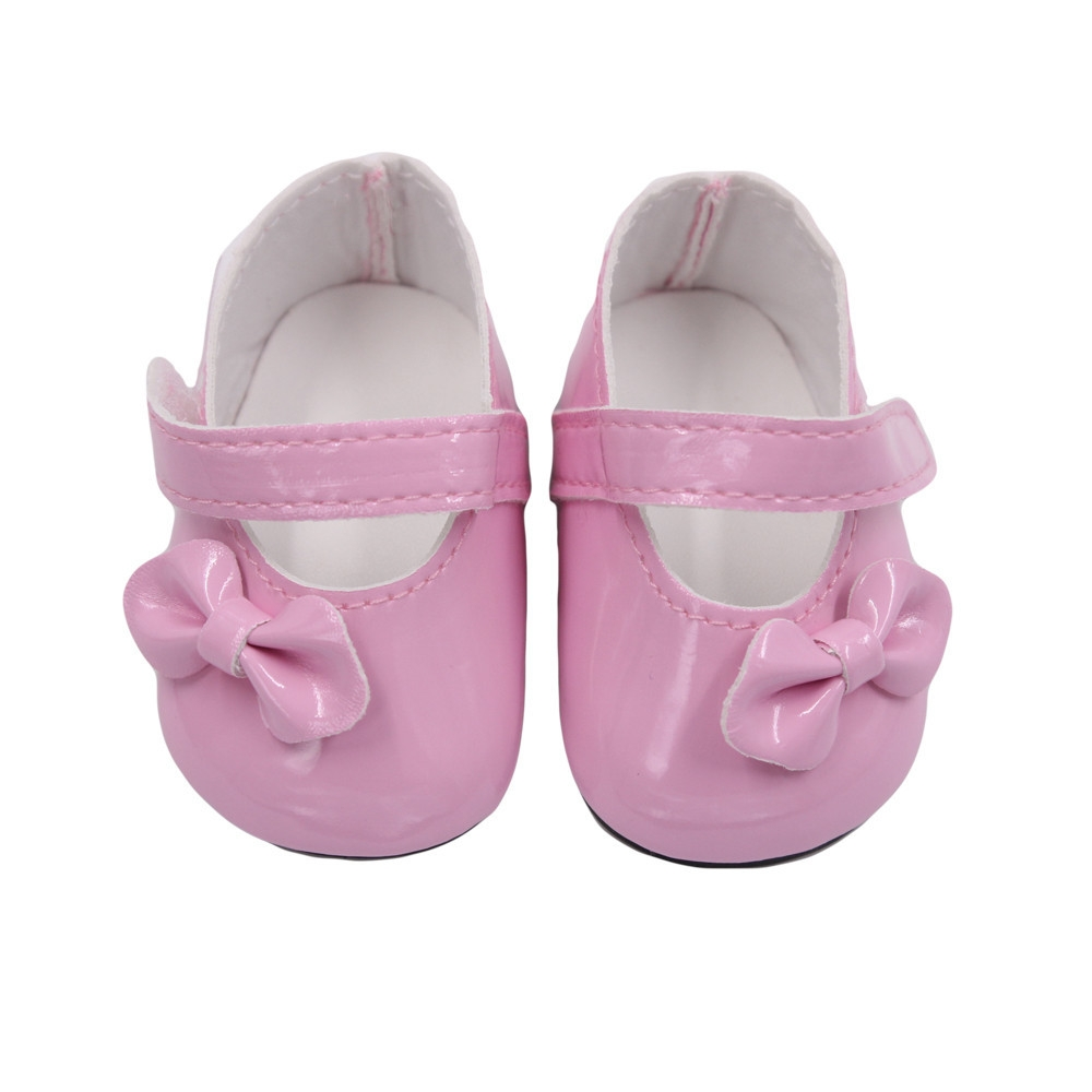 0f570e9c4a3eb Braveayong Glitter Doll Shoes Bow Dress Shoes For 18 Inch Our Generation  American Girl Doll -Pink
